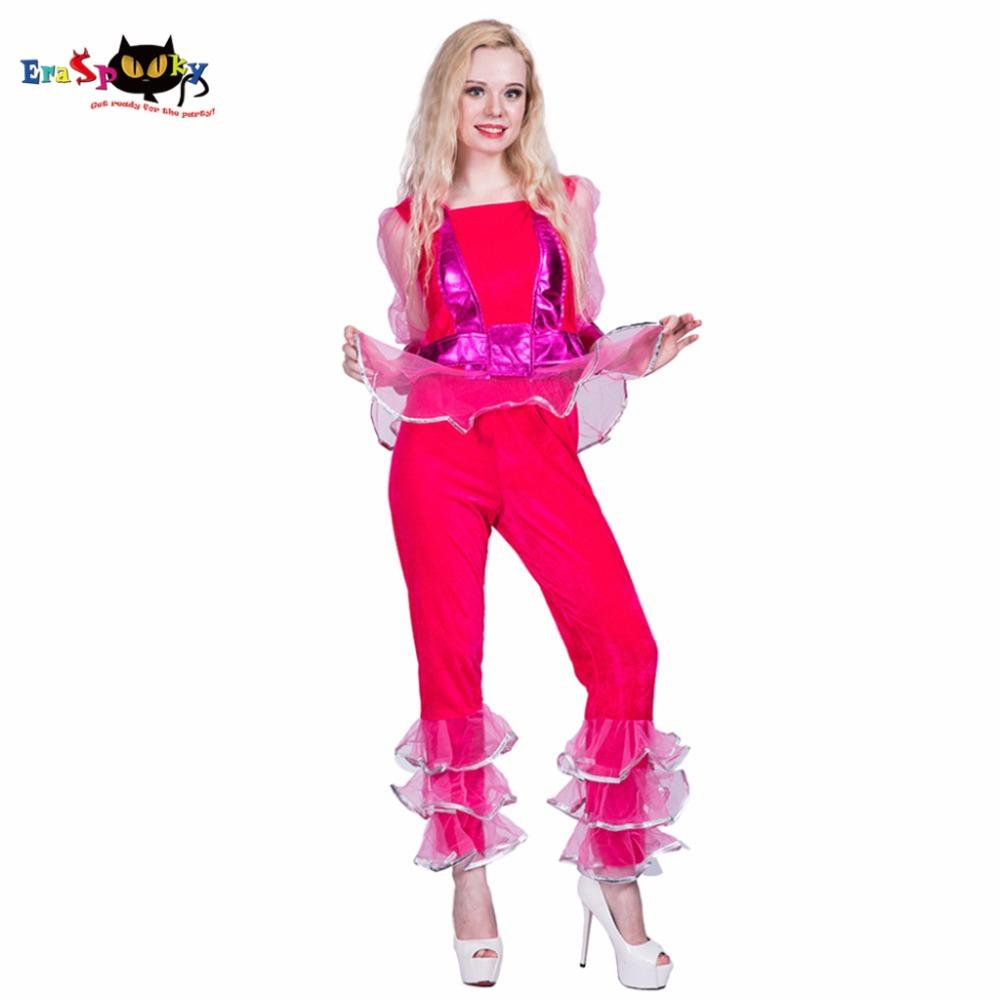 Family Of 4 Halloween Costumes 2019.Costume Adult 2019 New Sexy 70s Disco Diva Cosplay Halloween Costume Women Red Shiny Club Party Dance Fancy Dress Ruffle Chiffon Top Pants