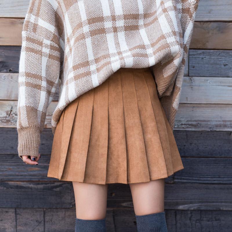 8b43f1e1b Compre Moda Japonesa Todo O Jogo Shorts Saia Mulheres 2018 Cintura Alta  Bonito Preppy Plus Size Camurça Mini Saias Coreano Khaki Plissado Saias De  Cutee, ...