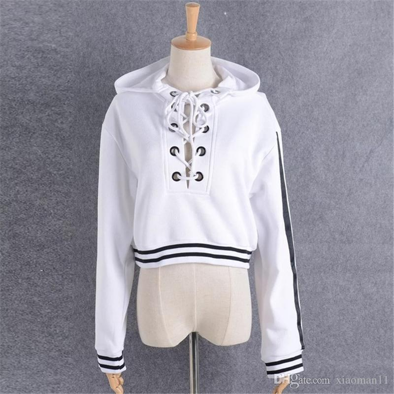 be3fbe176d 2019 2017 Women Hoodies Sweatshirts Lace Up Crop Hooded Short Pullover  Sweatshirt High Street Casual Loose Winter Woman Clothes Black White From  Xiaoman11