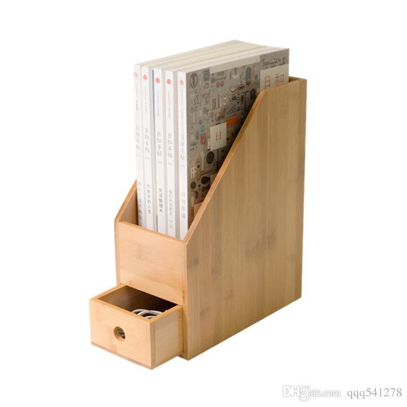 4dbebc70a Compre Organizador De Mesa De Bambu Escritório Rack De Arquivo Com Gaveta  Sala De Estudo Estante De Livro Titular De Armazenamento De Papel A4 Caixa  De ...