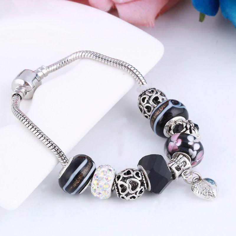 European Style Authentic Tibetan Silver Black Crystal Charm Bracelets for Women DIY Jewelry Gift Wholesale Bracelets Bangles