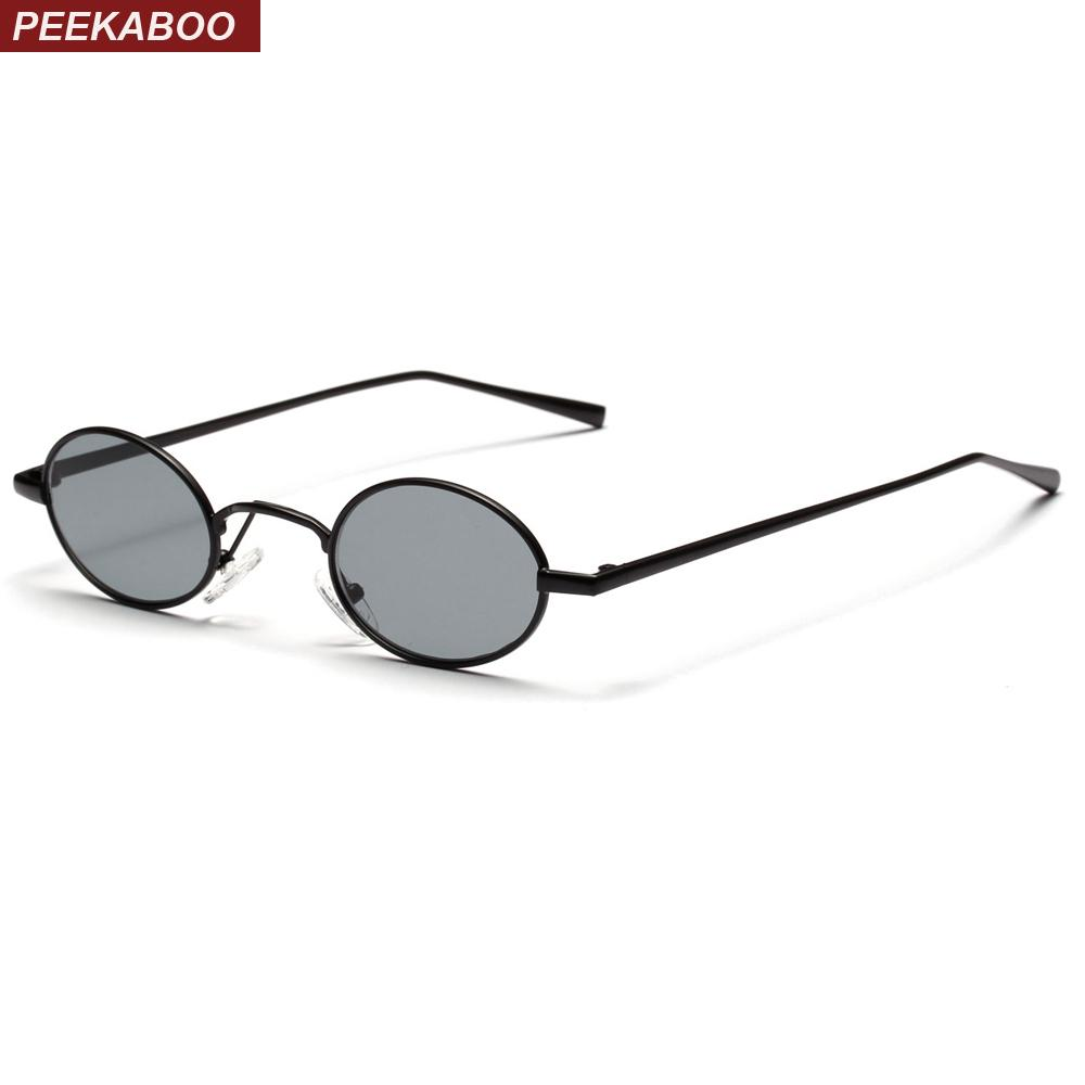 Peekaboo black small oval sunglasses women retro 2018 metal frame yellow red lens round vintage sun glasses for men