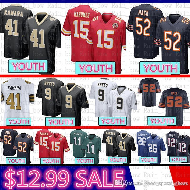 e67922df good Youth Chicago Bears Kid 52 Khalil Mack Jersey New Orleans Saints 9  Drew Brees 41 Alvin Kamara Kansas City Chief 15 Patrick Mahomes II