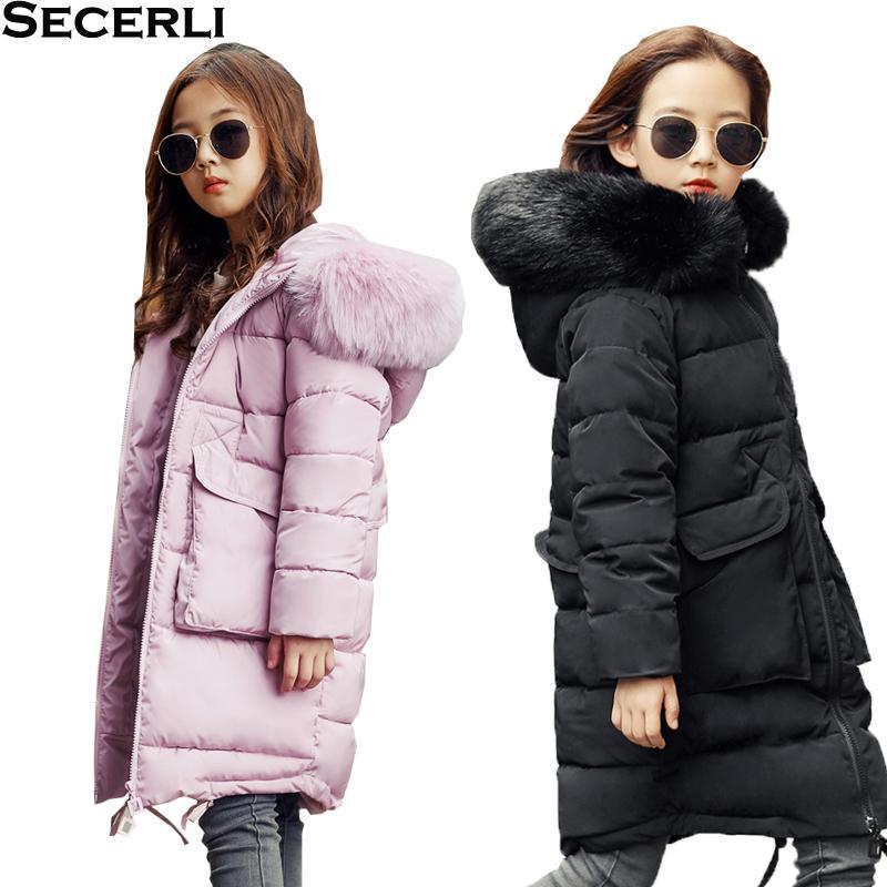 b29dcbdc27df New Winter Kids Girls Long Jacket Fur Hooded Children S Girl Winter ...