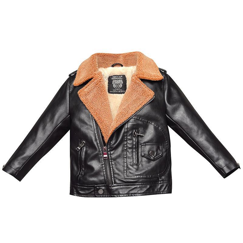 80d19bfb Faux Fur Coat Toddler Girl Winter Clothes Boys PU Leather Jackets Kids  Clothes Lapel Plus Velvet Winter Jacket Turn Down Collar Parka Jacket Boys  Winter ...