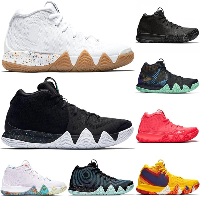 hot sale online c7622 af207 2019 Kyrie IV Green Lucky Charms Mens 2019 All New Basketball Shoes Triple  Black Oreo Red Carpet Lrving 4 Sports Training Sneakers Size 40 46 From ...