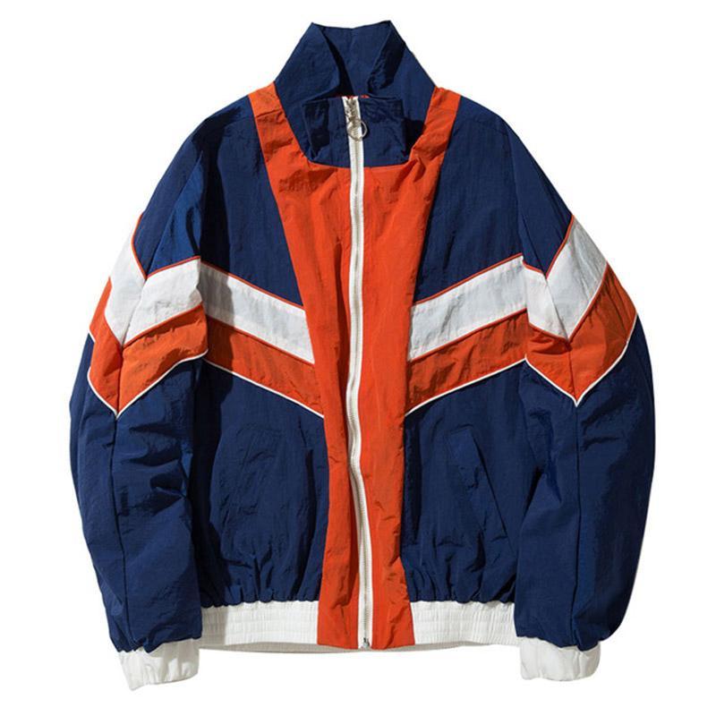 d4e2f67a1 winter bomber jacket men clothes Vintage Multicolor Color Block Patchwork  Jackets Autumn Hip Hop Streetwear neutral Casual Y1