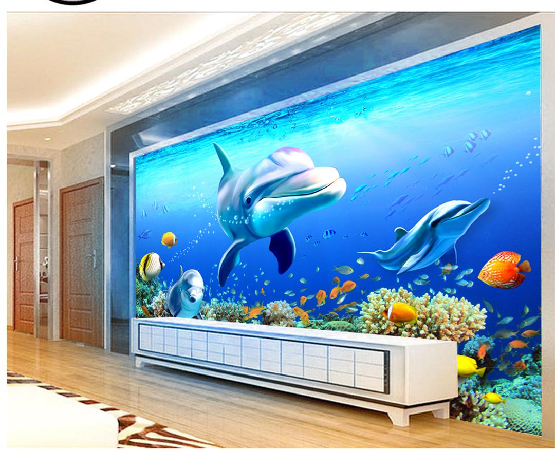 Custom Retail 3D Underwater World Coral Group Dolphins Background Decoración de pared Murales