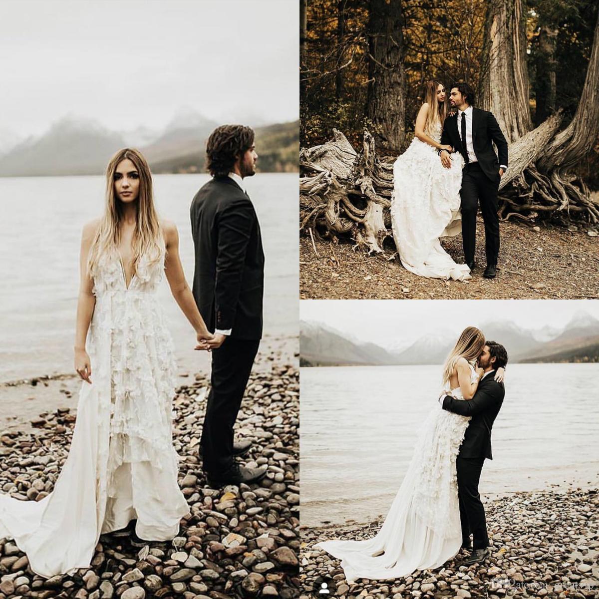 Bohemia Beach Wedding Dresses A Line Spaghetti 3D Floral Appliques Backless  Chiffon Bridal Gowns Plus Size Boho Wedding Dress robe de mariée
