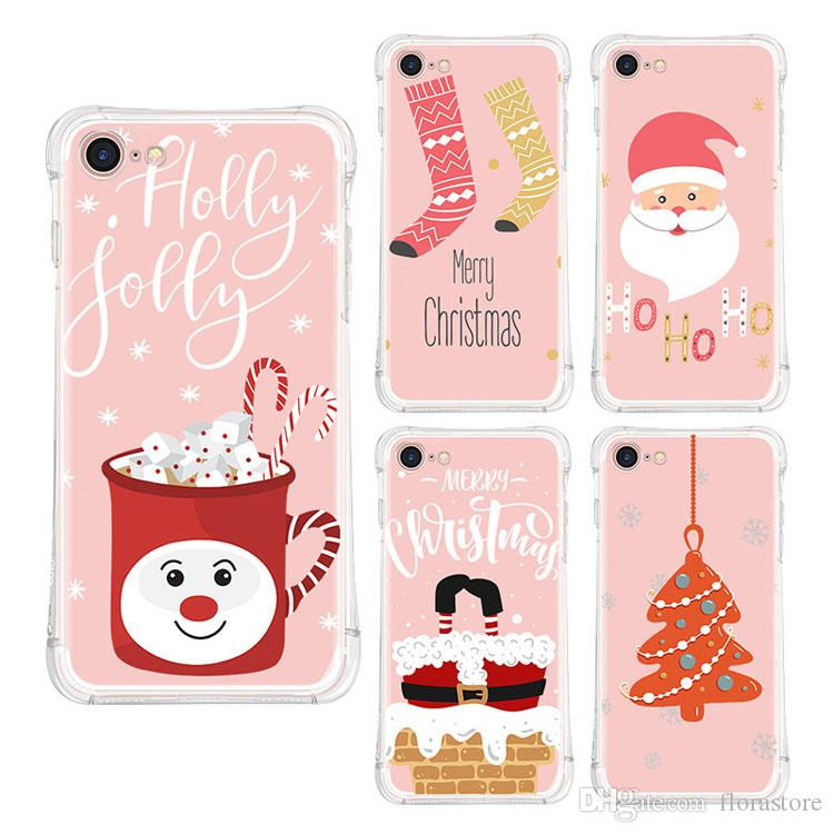 Hot Sale Crashproof Santa Cartoon Phone Cover Cute Pattern Christmas Phone Shell for iPhone 7 8 X/XS XR MAX
