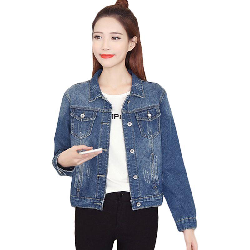 Denim Jacket Women 2019 Spring Slim Light Washed Long Sleeve Jeans Jackets  Vintage Basic Coats Plus Size 3XL 4XL Oversize D697 Cool Jackets Cheap  Leather ... 5a81d2b97