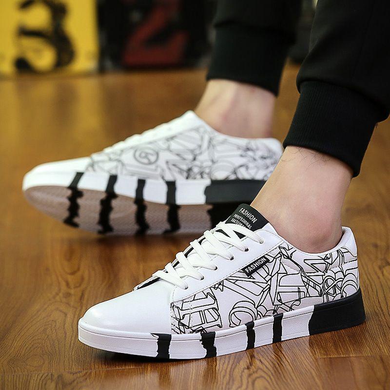 styles de mode recherche de véritables Chaussures 2018 Marque Hommes Blanc Couleur Vulcanize Chaussures Printemps Automne Bas  Chaussure Mâle Homme Lover Chaussures Hommes Designer Chaussure Plus La  taille