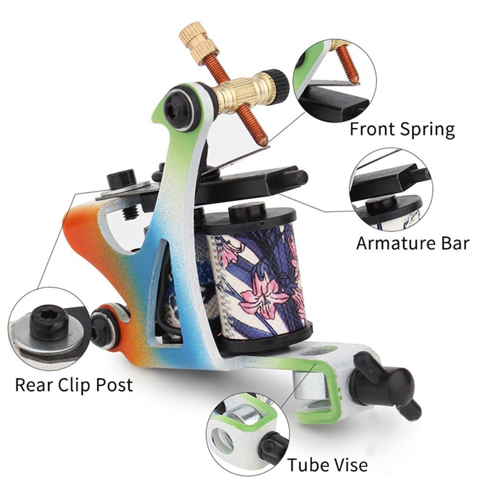 Beginner Kit Tattoo 2 Bobina máquinas de tatuagem Body Art Gun Set Power Supply ferramentas Jogo tatuagem permanente da composição definida para o transporte livre