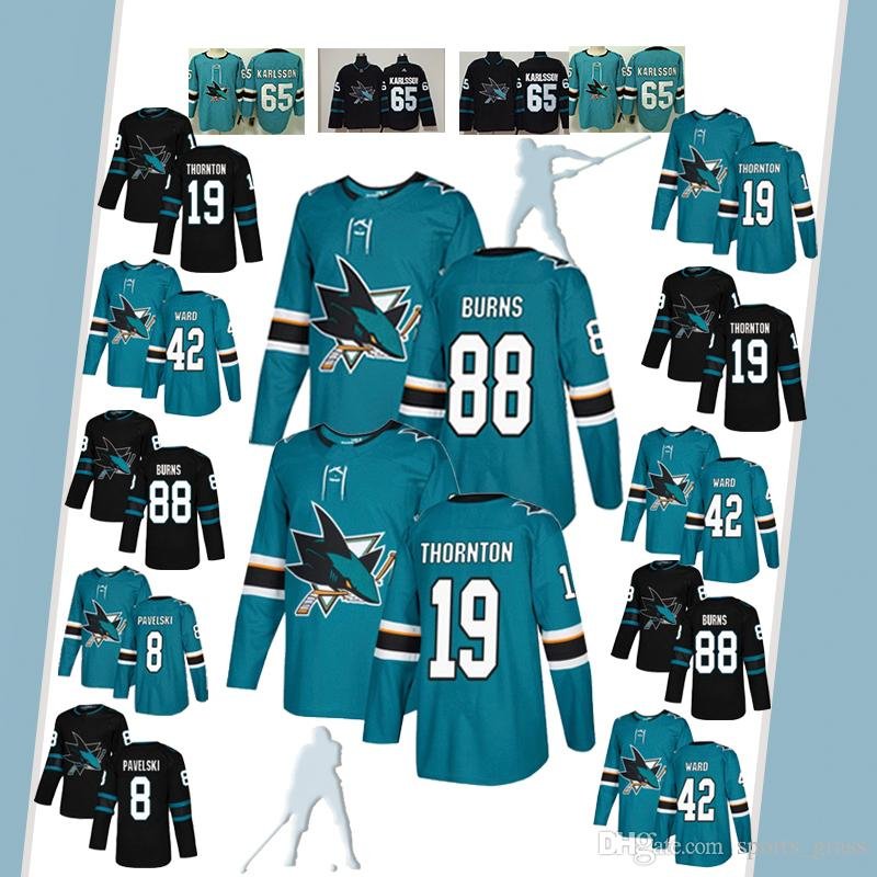 the best attitude f7e03 555e4 8 Joe Pavelski San Jose Sharks Jersey Hockey 65 Erik Karlsson 19 Joe  Thornton Logan Couture 88 Brent Burns 9 Evander Kane Hert