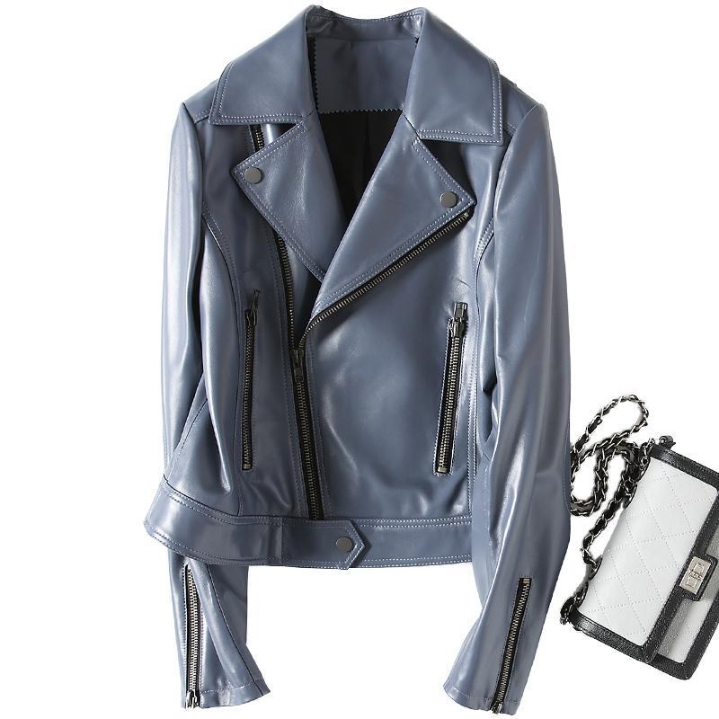 finest selection 55ef9 6839c Nuova moda autunno 100% vera giacca di pelle donna breve signora vera pelle  giacche moto cappotto di pelle di pecora capispalla Z422