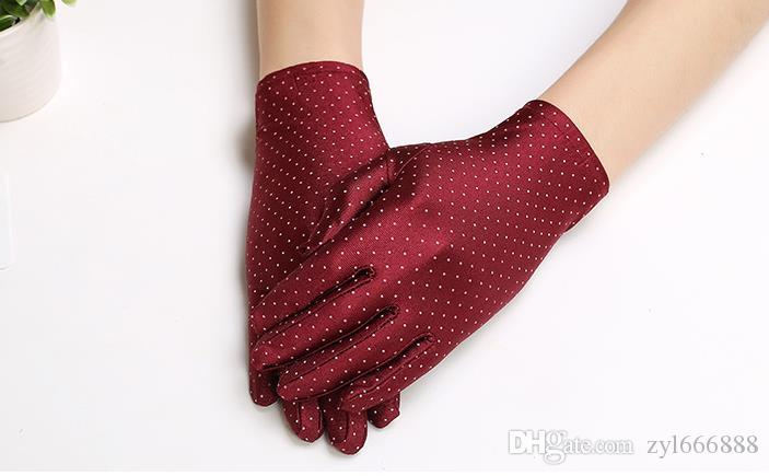 Spring and Summer New Style Fashion Lady's Thin Short Style Spot Elastic Spandex Square Dance Sunscreen Gloves