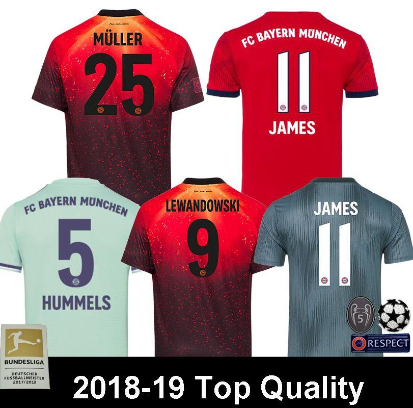2019 Top Thailand Bayern Munich EA Sports Soccer Jersey 2018 2019 JAMES  RODRIGUEZ LEWANDOWSKI MULLER KIMMICH Jersey 18 19 HUMMELS Football Shirt  From ... d282ce8f5