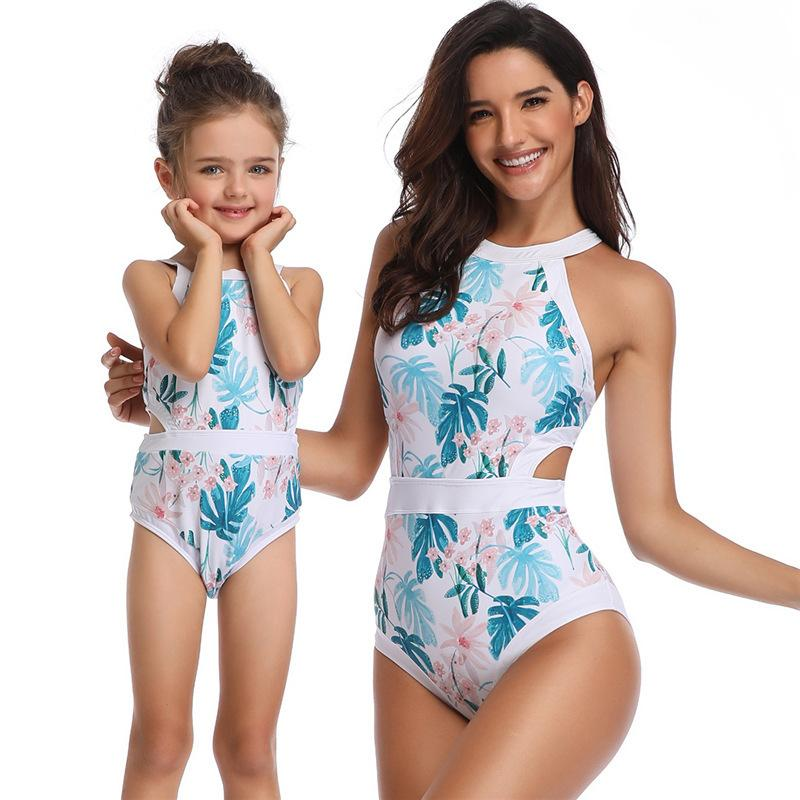 8d6f890812 Mom And Daughter Floral Swimwear Clothes Bikini Women Girls Family ...