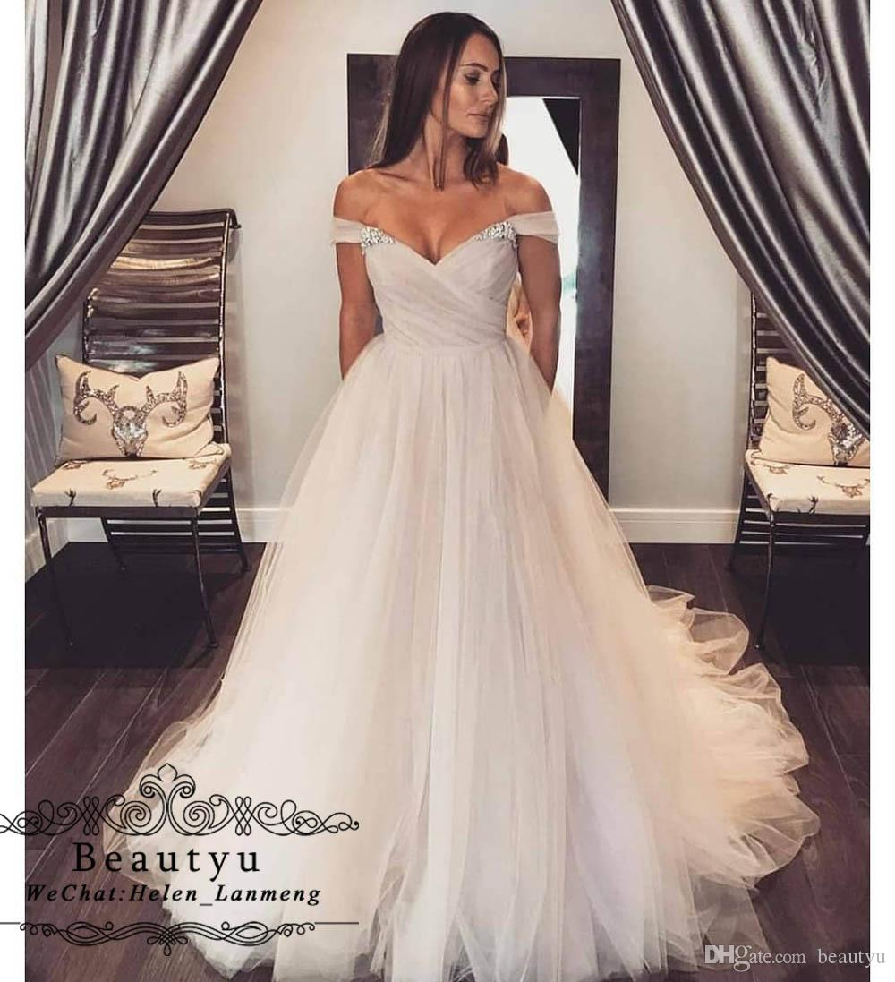Discount Cheap Plus Size Beach Wedding Dresses Elegant Off Shoulder