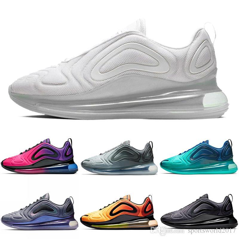 sports shoes 2c6fc 92f2e Acheter Nike Air Max 720 720 Chaussures De Course Pour Hommes Femmes Triple  Black White Sea Forest Gris Carbone Total Eclipse 72C Athlétique Sports De  Plein ...