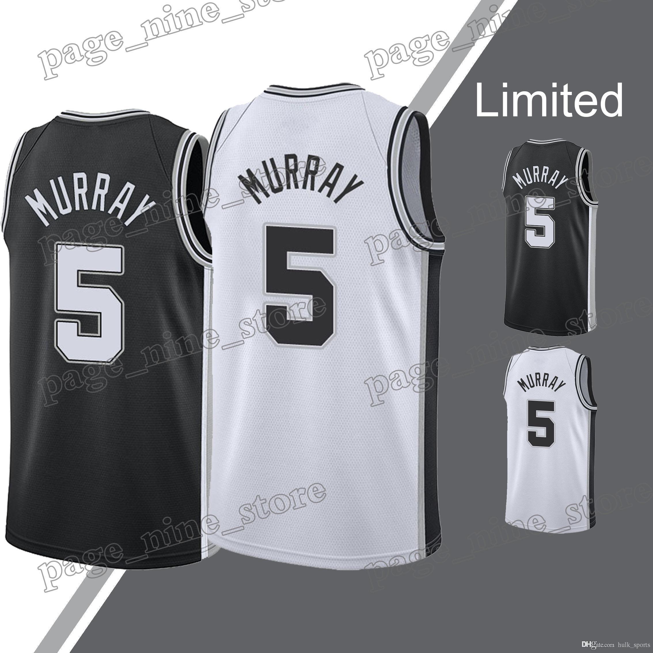 db5d9d4f5a9 2019 Spurs Jerseys Dejounte 5 Murray DeMar 10 DeRozan Jersey Manu 20  Ginobili Tim 21 Duncan Basketball Jerseys From Hulk sports