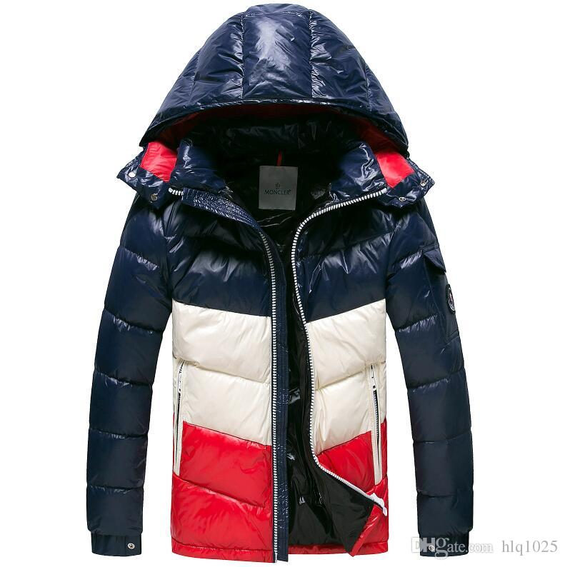 Red Dark Blue Brand Men's Down Jacket High Quality Hooded White Duck Down Warm Jacket Men's Fashion Down Jacket