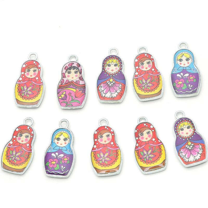 10pcs Two Sides Matryoshk Russian Doll Enamel Charm Pendants For Jewelry Making Diy Bracelet Necklace Needlework Accessories