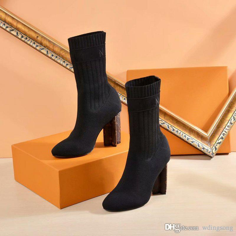 73a16be9 Silhouette Ankle Boot Women Martin Boots Winter Warn Botas Stretch Fabric  Bootie Monogram Flower Heel Ladies Wedding Party Shoes with Box