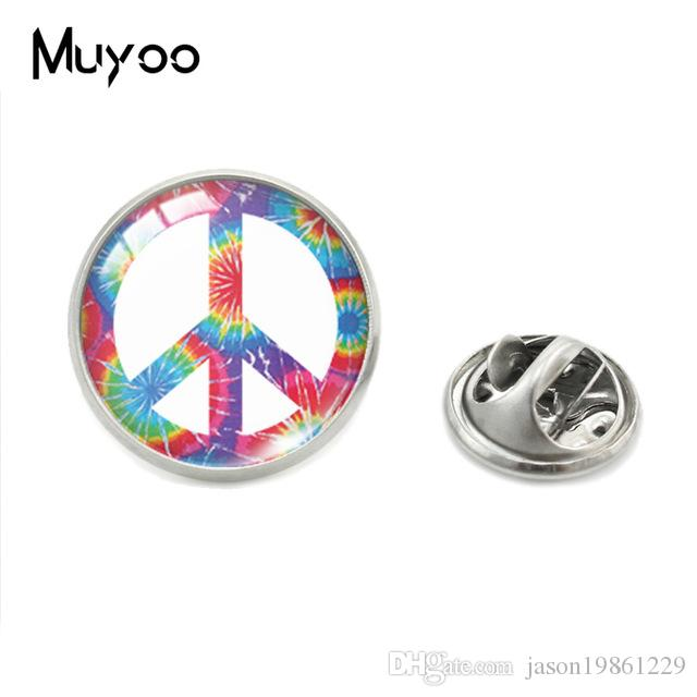 Hot Sale Hippie Sign Peace Love Clothing Pins Hippie Jewelry Glass Cabochon Lapel Pins Art Fashion Gift for Women Men