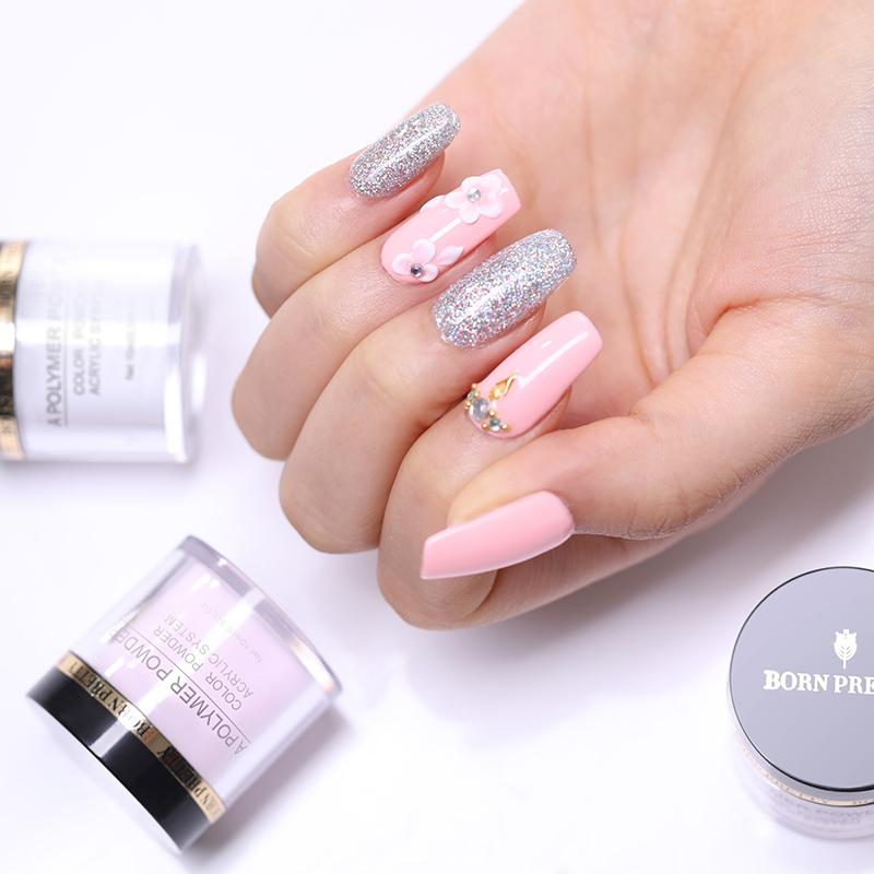 Glitter BORN PRETTY Acrylic Powder for Nail Extension Gel French Pink White  Clear Nail Polymer Glitter 10ml Manicure Brush Tool