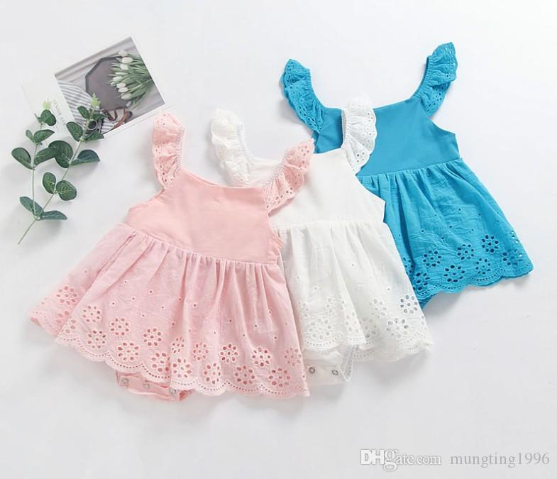 17e34b11080 2019 Ins Hot Sale Baby Girl Solid Color Lace Rompers Infant Ruffle Boutique  Romper Newborn Hot Sale Romper From Mungting1996