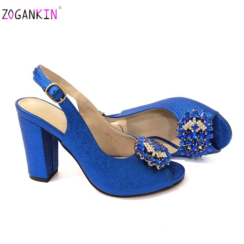 Royal blue 2019 sexy platform pumps women shoes high heels wedding shoes woman peep toe square high heels ladies sandals