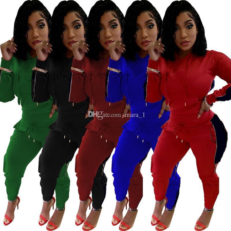 e0b450a0390e Diseñador de la marca mujer sudadera con capucha de chándal de invierno  Conjunto de 2 piezas trajes de impresión leggings leggings ropa deportiva  ...