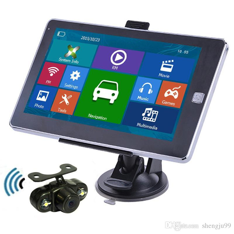 7 inch Car GPS Navigation Bluetooth Handsfree Touch Screen Navigator With Waterproof Night Vision Wireless Rear View Camera 8GB New Maps