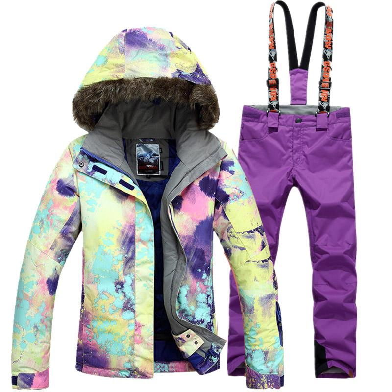 Ski Suit Women Blue Warm Waterproof Ski Suit Women Outdoor Skiing ... d73884839