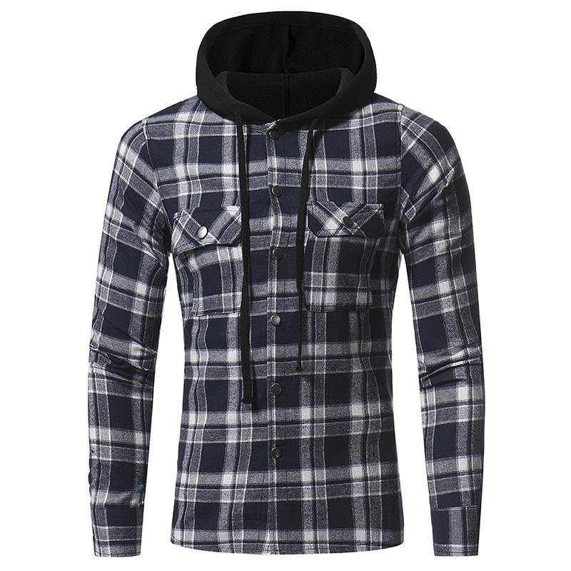 c8773b7bf6f 2019 Plus Size Mens Hoodie Plaid Streetwear For Men Fashion Casual Clothes  Long Sleeve Cardigan Shirt Clothing With Pocket M L XL XXL XXXL From  Clothingcart ...