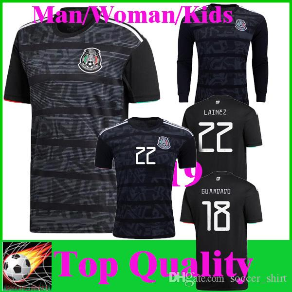 purchase cheap f4ea4 fbcaa 2019 Mexico Gold Cup Soccer Jersey Black 19 20 Camisetas CHICHARITO LOZANO  MARQUEZ Women Football Shirt Top National Team Uniform Kids Kit