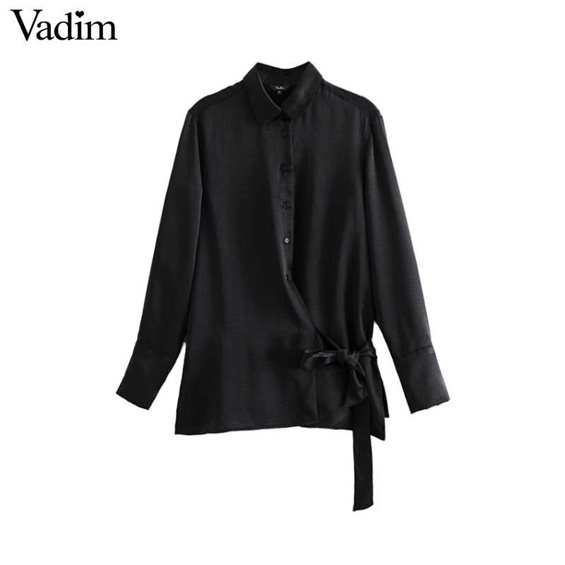 e929b563cb1 Vadim Women Satin Black Blouse Bow Tie Long Sleeve Turn Down Collar ...
