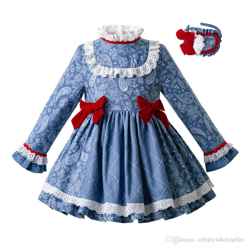 7269307b8 2019 Pettigirl 2019 Girl Floral Printed Party Kids Girls Dress Blue High  Waist Dresses With Bows Boutique Toddler Girl Clothes G DMGD107 D50 From ...