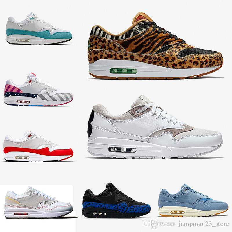 Nike Air Max 1 Hochwertige Marken Schuhe Atmos 1s Mens laufende Schuhe 87s Trainer OG Jahrestags Leopard Sport Entwerfer Turnschuh Größe 36 45 Freies