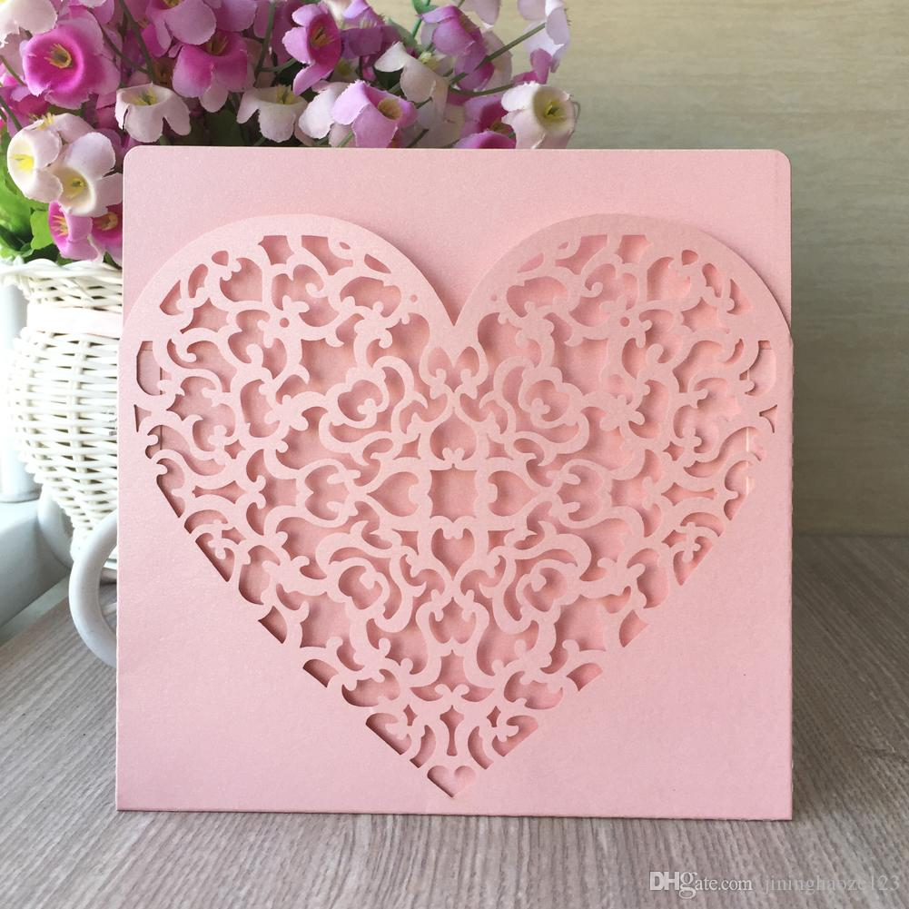 Hotsale heart ripple hollow out laser out wedding invitation decroation marriage annivery 15th birthday party Dinner
