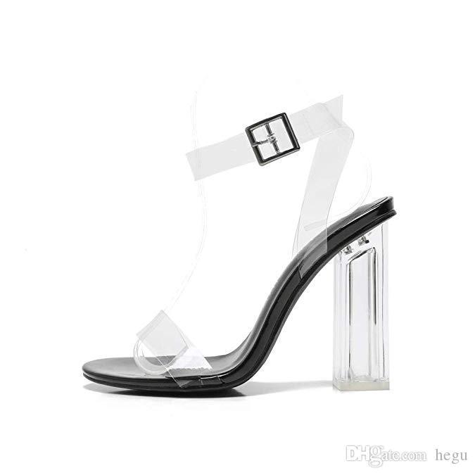 1092b58b8ad3a HEGU 2019 New Women Clear Buckle Sandals High Heels Dress Shoes Open ...