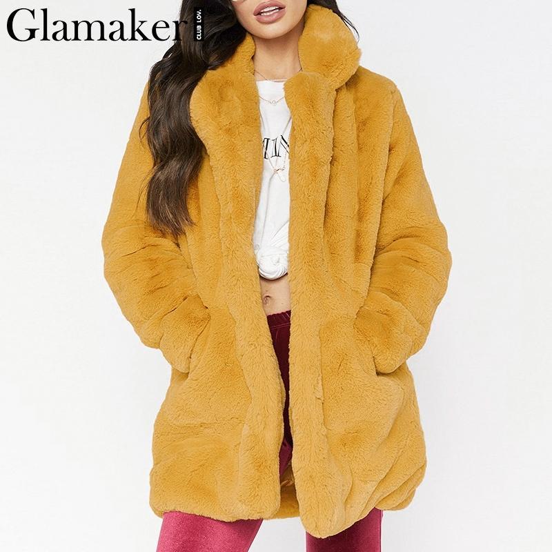 Compre Glamaker Faux Fur Franja Peluche Mujer Abrigo De Invierno Otoño  Cálido Cardigan Femenino Escudo Party Club Outwear Peluche De Piel Más  Tamaño A ... bb41dfc0964