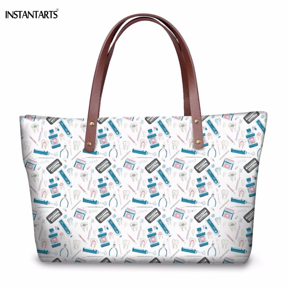 2019 Fashion INSTANTARTS Funny Cartoon Dentist Equipment/Teeth Pattern Woman Large Tote Bags Brand Design Female Shoulder Bags Casual