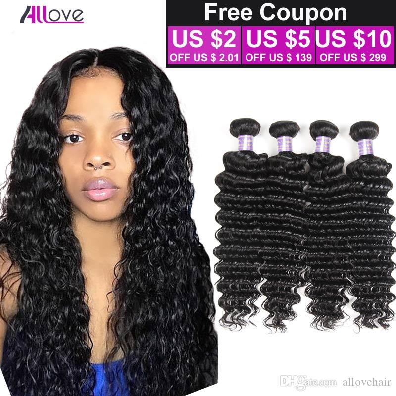 Buena calidad Unprocessed Virgin Indian Deep Wave Cabello humano 8A Barato Indian Brazilian Virgin Virgin Deep Wave Cabello humano 4 Bundle Deals Weave