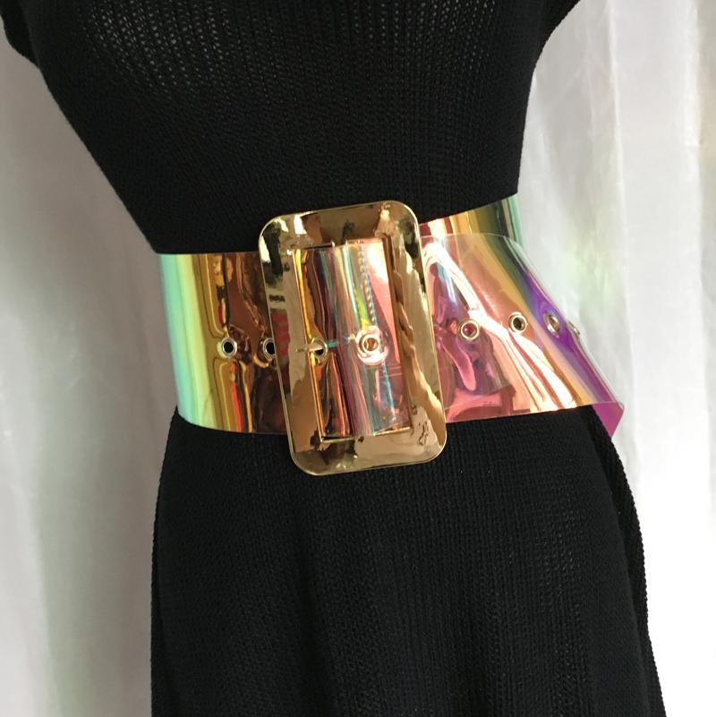 New Hot Sell Women Fashion Laser Belt Plastic Wide Gradient Color Transparent Jelly Waist Belt Y19070503