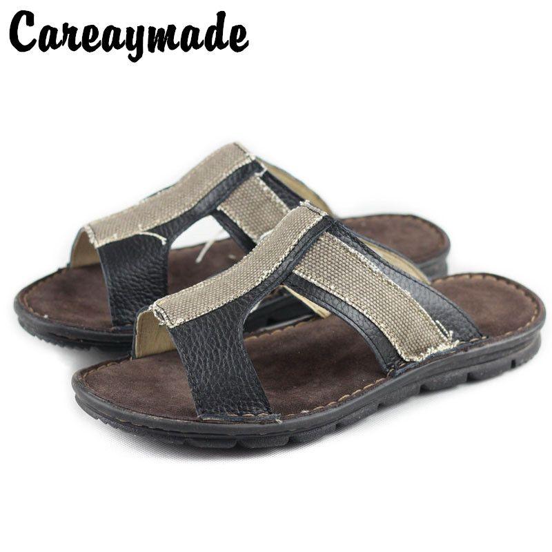 0d81442e282c Careaymade-Fashion Soft Men Sandals Leisure Summer Shoes Comfortable Men  Beach Strap Sandals Leather Handmade High Quality Men s Sandals Cheap Men s  Sandals ...