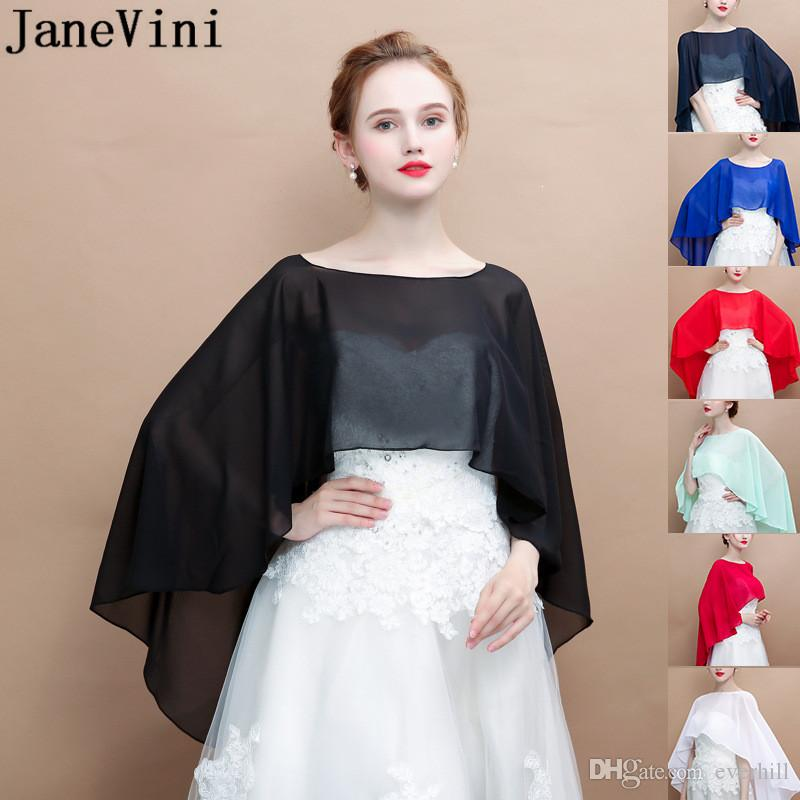 51b2c4d64e260 2019 JaneVini High Low Chiffon Wedding Cape For Women White Brides Bolero  Cloak Shrug Arabic Bridal Capes Sheer Wedding Dress Wraps Stoles From  Everhill, ...