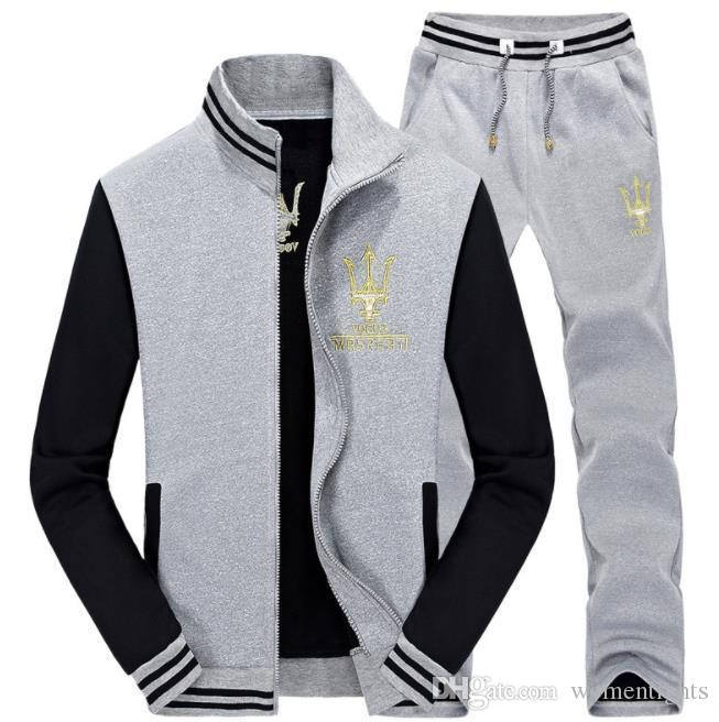 Maserati Tracksuits Men Hombres Casual Sports 2pcs Suit Clothing Sets Jacket Pants Outfits
