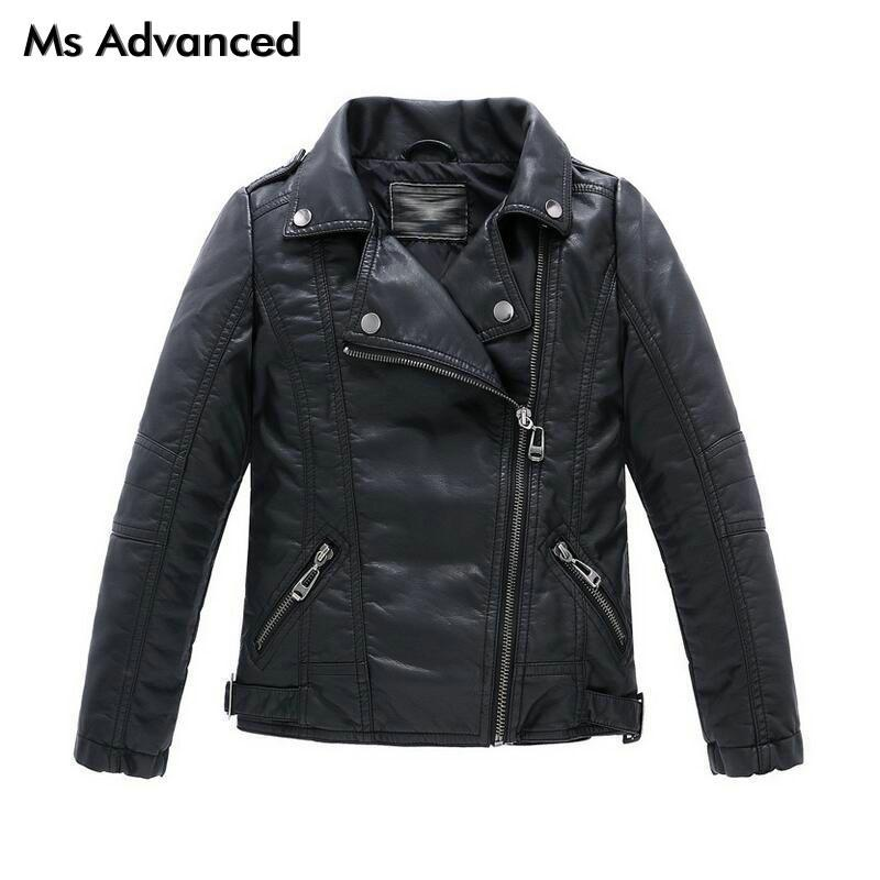 Teenager Girls Boys Leather Jacket Boys Casual Black Solid Children Outerwear Kids Girls Coats Spring Leather Jackets 2017 New